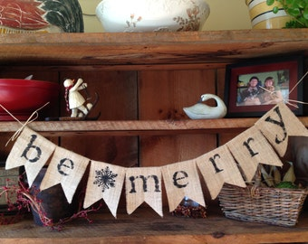 Be Merry Burlap Banner, Christmas Bunting, Christmas Decoration, Holiday Bunting, Christmas Garland, Holiday Garland