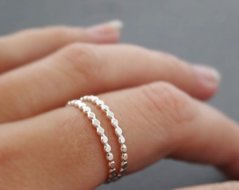 2 Sterling Silver hammered Stacking Rings handmade flat bead wire thin thumb ring midi ring pinky ring