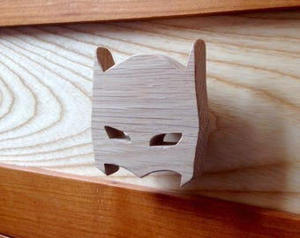 Drawer knobs or hook theme Super - Hero Batman Mask natural wood