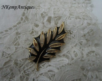 Enamel leaf brooch