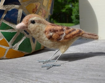 Mrs. House Sparrow, needle felted bird sculpture