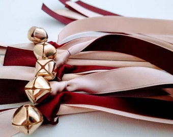 25 Ribbon Wands - Burgundy and Blush w/ Gold Bells -Celebration - Wedding- Bell Wands - Customize- Parties- Fast Shipping