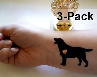 Dog Tattoos, Labrador Temporary Tattoo Stickers, Black Labradors Fake Tattoos, Jewel Flash Tattoos, Animal Tattoo Pack, Dogs Jewelry Tattoos