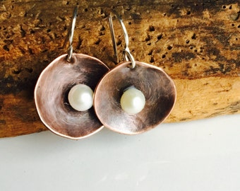 50% 0FF \Copper Disc Earrings with Freshwater Pearls, Metalwork Earrings, Hammered Earrings, Copper and Pearls, Sterling Earwires