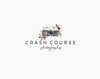 Photography logo - Camera logo design - floral camera logo - Photography design - Logo design - Branding for your shop - Business logo
