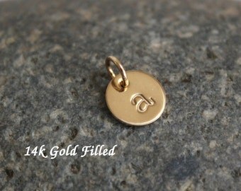"Gold initial charm - 14k Gold filled initial charm 9.5mm (3/8"") round - personalized initial charm"