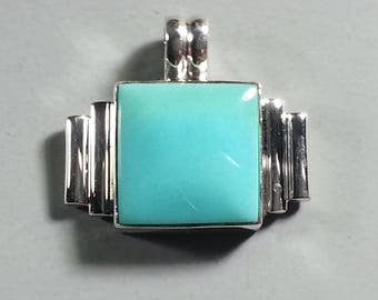 Petite Turquoise Pendant in Hand Fabricated Sterling Silver Setting