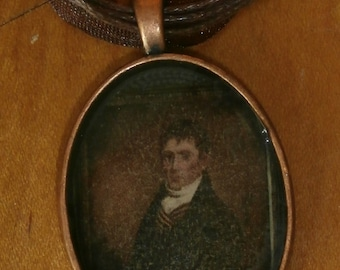 "Gentleman Portrait  Ben Franklin or 18th Century Statesman  Cabochon Necklace w/ 18"" ribbon"