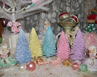 Beautiful Pretty Pastel Christmas-Bottle Brush Tree-Easter-Decoration-Putz