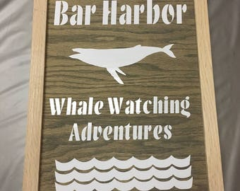 Bar Harbor Whale Watching Tours Framed Sign