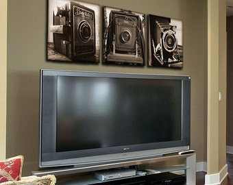 Vintage Cameras on Canvas -  Set of 3 Prints