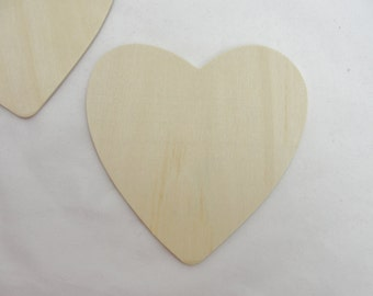 "5 Large wooden hearts 4 1/2"" (4.5 inches) unfinished wood hearts"