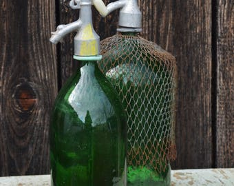 Vintage Seltzer Bottle, Green Glass Bottle in Rusty Metal Casing, Soda Siphon Bottle with Wire Mesh Protection, Mesh Wrapped Glass Bottle