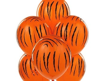 ON SALE 10 Tiger Balloons  School Mascot Theme Go Tigers! Birthday Party shower decorations 11 inch Balloon