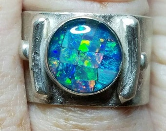 Sterling silver and opal mosaic triplet statement ring