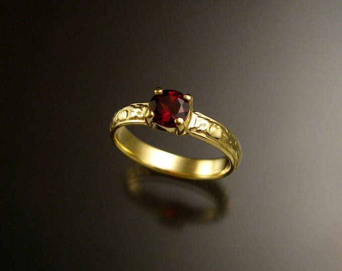 Garnet 14k Green Gold Victorian floral pattern wedding ring engagement ring