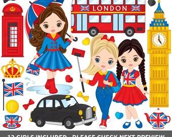 London Clipart - Vector London Clipart, Girls Clipart, Big Ben Clipart, Kids Clipart, Phone Booth Clipart, British Clipart, London Clip Art
