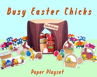 Busy Easter Chicks Paper Toy Playset