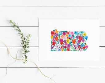 PENNSYLVANIA Floral Watercolor Print Digital Download