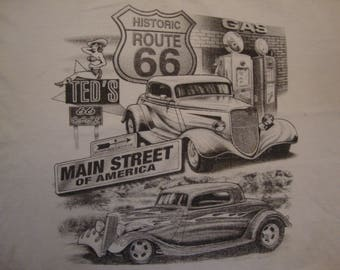 Vintage 90's Historic Route 66 Main Street Of America White T Shirt Size L