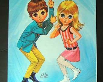 """Vintage Lithograph """" Go Go Dance"""" by Eve, collectible print, dancing kids wall art"""