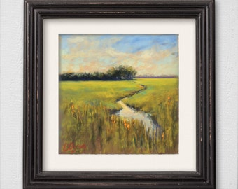 "Original Pastel Painting ""Small Stream"""