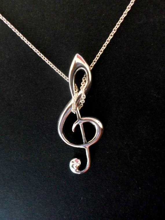 G key, G clef pendant, musicians jewelry, for music lovers silver handmade G key jewelry, sterling silver musician special gift