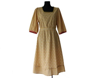 GUDRUN SJODEN Cotton Dress Mustard Red White Womens Oversized Dress Peasant Style Dress  Size M