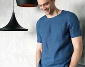 Mens linen t-shirt. Shirt for men. Mans organic clothes. Stylish t-shirt. Blue t-shirt. Natural 100% flax shirt. Gift for him. Beach t-shirt