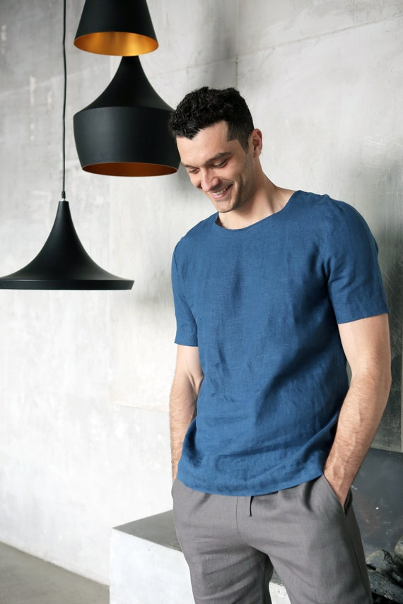 Mens linen t-shirt. Shirt for men. Mans organic clothes. Stylish t-shirt. Blue t-shirt. Natural flax shirt. Gift for him. Summer clothes