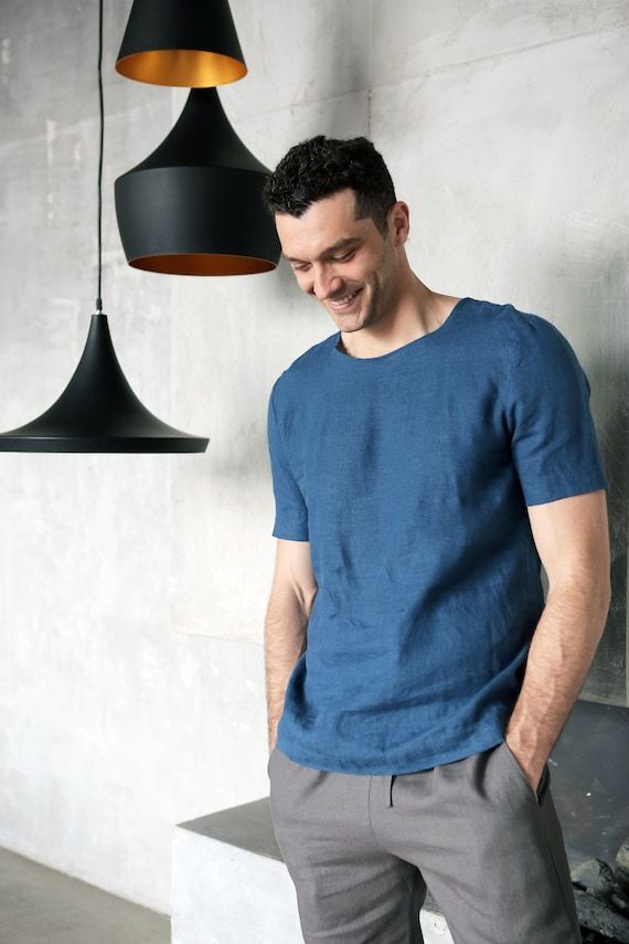 Mens linen t-shirt. Shirt for men. Mans organic clothes. Stylish t-shirt. Blue t-shirt. Natural flax shirt. Gift for him. Summer clothes bglChhc3h