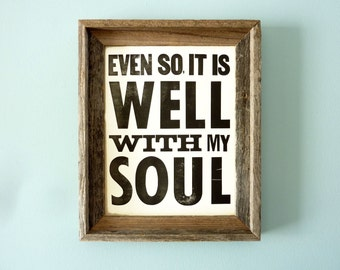 Graphic Poster Print - It Is Well With My Soul Vintage Style Hymn Lyrics