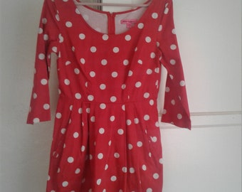 Vintage 90s Size Red Polka Dot Betsey Johnson Pleated  Dress