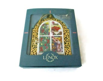 "Lenox ""Christmas Windows"" Ornament 1996 Double Sided"