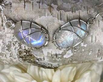 Welcome to the Bright Side----- Rainbow Moonstone Earrings