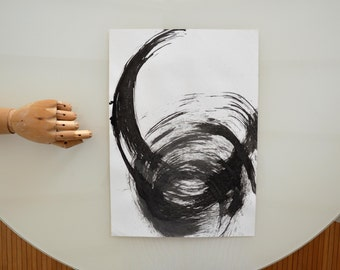 Original abstract ink drawing- abstrat ink art, modern art, minimal art, A3 drawing, ink drawing, movement art, nature art, contemporary art
