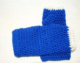 Blue Crochet Womens Fingerless Mittens, Ladies Fashion Gloves, Winter Mittens, Crochet Mittens, Texting gloves, Womens Gloves