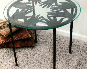 Table personalized with Your Family's Handprints- Custom Steel Side, End, Coffee Table