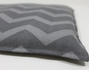 Large Square Rice Bag - 9 x 9 inches, hot or cold therapy pack, rice heating pad, foot warmer, gray chevron pattern