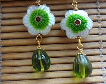 Flower Earrings, Green, Cloisonne, Green Earrings, Green Flower Earrings SALE