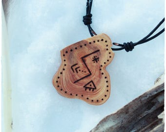 The sun • Shamanic amulet • Viking runes • Wooden pendant • Spirit animal • Witch necklace • Pagan jewelry • Primitive • Tribal jewelry