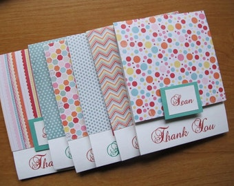 Spring Personalized Thank You Cards, Set of 6/Custom Thank You Cards