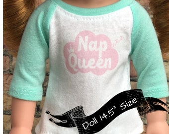 14.5 Inch American Made Doll Clothes | Nap Queen Graphic 3/4 Mint Sleeve BASEBALL TEE for dolls such as Wellie Wisher
