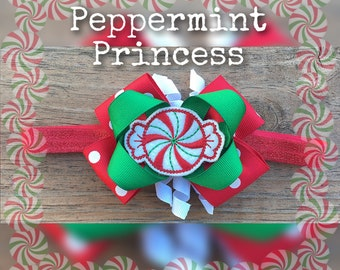 Peppermint Princess/ candy/red/green Christmas/hair clip/girls/baby/infant/ Headband