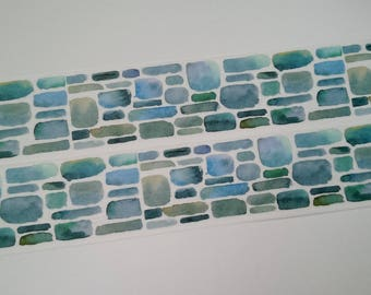 Design Washi tape blue brick wall watercolor