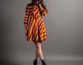 1970's Stripe Bow Neck Mini Dress XS