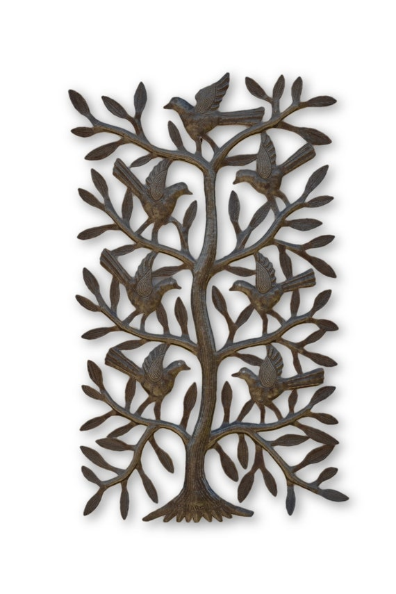 Tall Tree With Birds,  Handmade Quality Haitian Sculpture, One-of-a-Kind Art 21 x 12