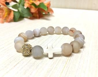 Beaded Bracelet - Cross Bracelet - Stone Bracelet - Stackable Bracelet - Quartz Bracelet - Elastic Band - Faith Bracelet - Boho Bracelet