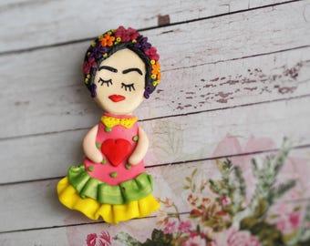 Art Brooch Pin, Day of Dead Jewelry, Frida Kahlo Jewelry, Brooch Gift Idea, Mexican Art Jewelry, Dia De Los Muertos Pin, Frida Kahlo Art