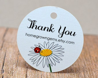 Daisy Flower Ladybug Thank You Tags -  Hang Tag - Product Packaging - Gift Tag - Wedding - Party